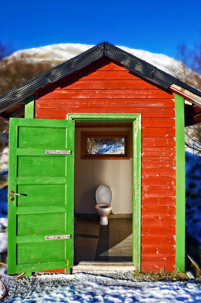 A painted toilette